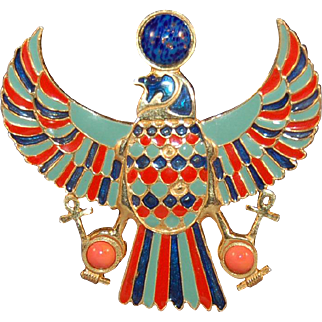 Vintage Large Accessocraft Egyptian Revival Enameled Falcon Figural Brooch