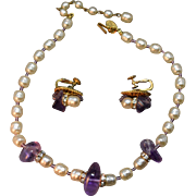 Simulated Boroque Pearl and Lavender Glass Vintage Miriam Haskell Signed Beaded Necklace & Earrings