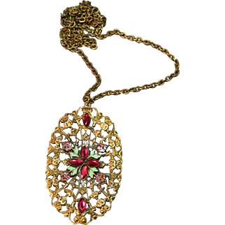 Antique Elaborate Czech Huge Enamel & Rhinestone Art Deco Necklace! DIVINE!