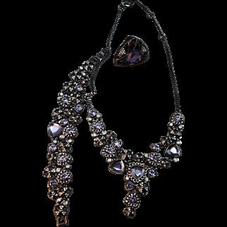 STUNNING Givenchy Rhinestone & Shield Stone Bib Necklace, Bracelet & Ring!