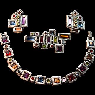 Modernist Geometric Rhinestone Inset  Patricia Locke Silver Plate Geometric Bracelet, Brooch & Earrings!