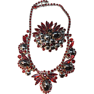 2 Die 4 Juliana DeLizza & Elster Hematite and  Ruby Red Rhinestone Necklace & Brooch Set