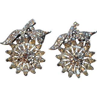 SPECTACULAR Alfred Philippe Rhinestone Embedded Pair of Dress Clips/Pins!