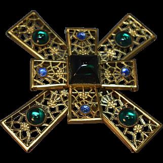 "FABULOUS Filigree Gold Tone Metal Dimensional ""Jeweled"" Maltese Cross Brooch"