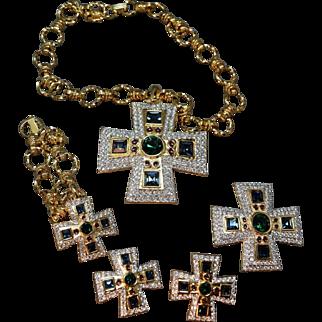 SHIMMERING Swarovski Crystal Inset Maltese Cross Moghul Dimensional Necklace, Bracelet, Brooch & Earrings
