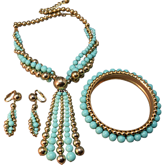 EXCEPTIONAL Napier Metal & Turquoise Bead Necklace, Earrings & Bangle Bracelet!