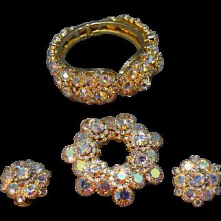 Juliana D&E Iridescent Golden AB Rhinestone Embedded Clamper Bracelet, Brooch & Earring Set!