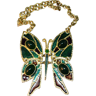 Juliana DeLizza & Elster Book Piece Huge Cabachon & Enamel Articulated Butterfly Necklace