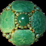 Divinely Decadent Schreiner Domed Faux Jade Green Paneled MASSIVE Brooch