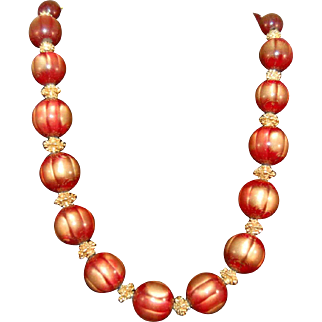 Fabulous Crown Trifari Iridescent Gilt, Rose Pink , Maroon Colored Large Bead Necklace