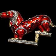 EXQUISITE Vintage Kramer Dachshund Dog Enameled Brooch w/Inset Rhinestones