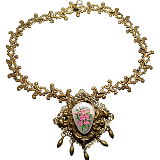 """French Enamel """"Style Metal Spec"""" New York Vintage Victorian Massive Necklace!"""