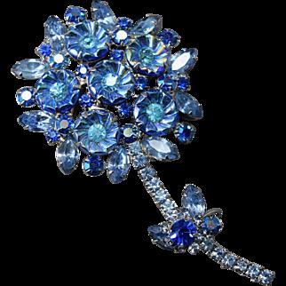 RARE Iridescent Swirled Flower Stone Juliana DeLizza & Elster Figural Brooch & Earring Set