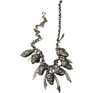 MAGICAL Thief of Bagdad Figural Sword and Head RARE Necklace!