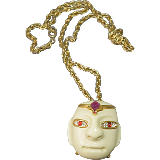 Unique Vintage K.J.L. (Kenneth J. Lane) Genie:Lucite Head w/Rhinestones Necklace