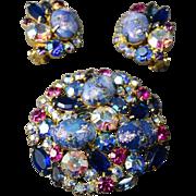 GLORIOUS Juliana DeLizza & Elster Blue Easter Egg & Rhinestone Brooch & Earrings