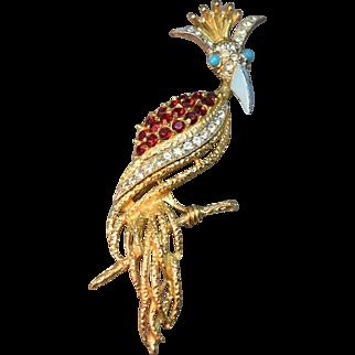 Rare Signed Florenza Funky Figural Bird Brooch Inset w/Ruby & Clear Rhinestones