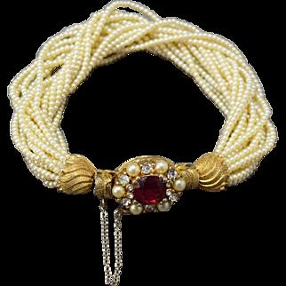 SOPHISTICATED Twisted Multi-Strand Simulated Seed Pearl Ciner Vintage Rhinestone Bracelet