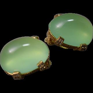 Opulent Huge Faux Jade Colored Cabochon Vintage Earrings Nettie Rosenstein! Signed