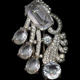 FLAMBOYANT Eisenberg Original Massive Emerald Cut Huge Rhinestone Clip/Pin