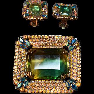 MASSIVE Iridescent AB Rhinestone Picture Frame 2-Tone Emerald & Topaz Stone Brooch & Earrings!
