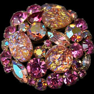 ALLURING Juliana D&E Pink Iridescent Cats' Eye Art Glass Foil Cabochon Brooch!
