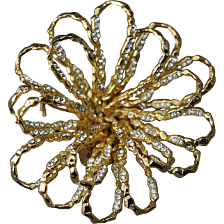 Rhinestone Inset Looped Layered Christian Dior Germany 69 Large Brooch! SUPERB