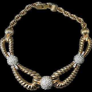 Vintage Signed BOUCHER Statement Heavily Designed Link Rhinestone Necklace !