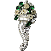 EXQUISITE Early R. DeRosa Small Jeweled Floweres & Rhinestone Fur Clip/Pin