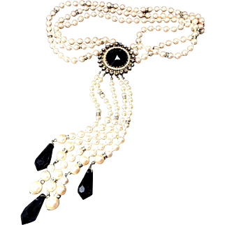 RAVISHING Vintage Miriam Haskell Multi-Strand Simulated Pearl Necklace w/Crystal Dangles & Rhinestone Spacers