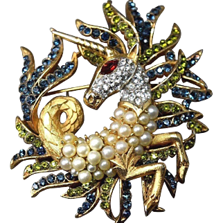 EXTREMELY RARE Crown Trifari Philippe Hippocampus Unicorn/Fish Brooch!