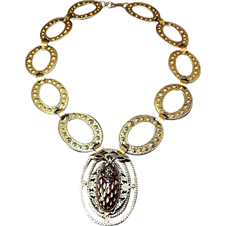 MASSIVE BOLD Haute Couture Signed Freirich Scarab Necklace w/Elaborate Flat Link Chain