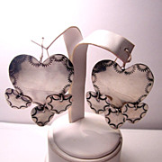 Southwestern Signed B. Chavez Large Dangling Hearts Sterling Silver Earrings