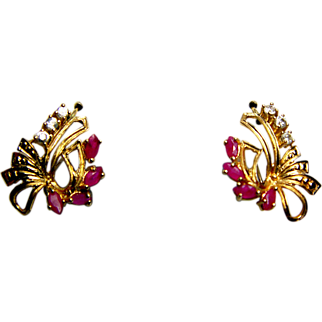 JAZZY Vintage 14K Gold Ruby Diamond Flapper Earrings