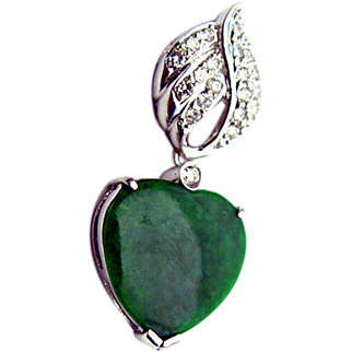 Dazzling 18K White Gold Diamond Jade Heart Pendant