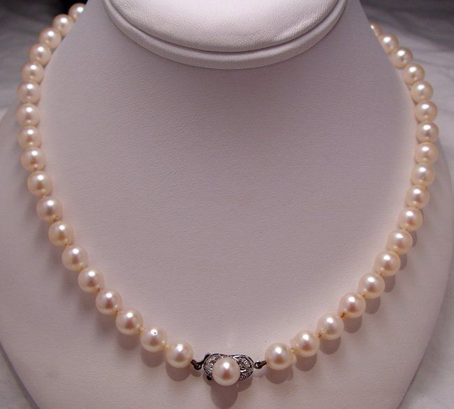 Estate 14k white gold handknotted pearl necklace w jeweled