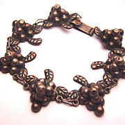 Old Early Mexican Sterling Silver Grape Cluster Vine Bracelet Guadalajara