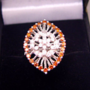 Stunning White Gold Fancy Orange Diamond Flapper Ring Filigree Sz 7.25