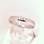 Fine Estate 14K White Gold Diamond Wedding Band Ring Stackable Jewelry