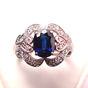 Stunning 14K White Gold Sapphire Diamond Hearts Filigree Gemstone Ring
