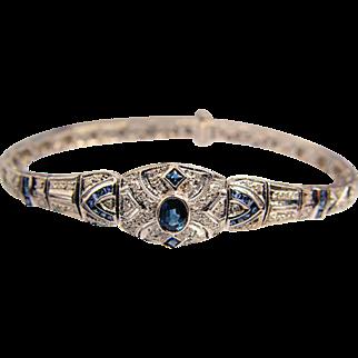 DAZZLING Vintage Art Deco Style White Gold Diamond Sapphire Ladies Filigree Bracelet