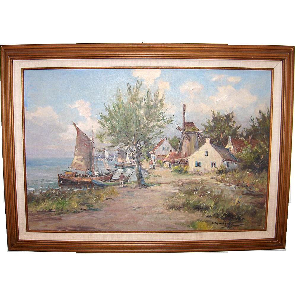 Eugeniusz Dzierzencki Listed Artist Coastal Village and View