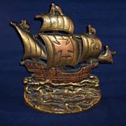 Vintage Cast Iron Clipper Ship Door Stop