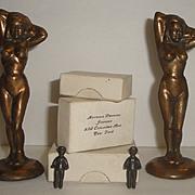 4 Vintage Metal Figurines - Brass Nude Ladies + Tiny Figures with Boxes