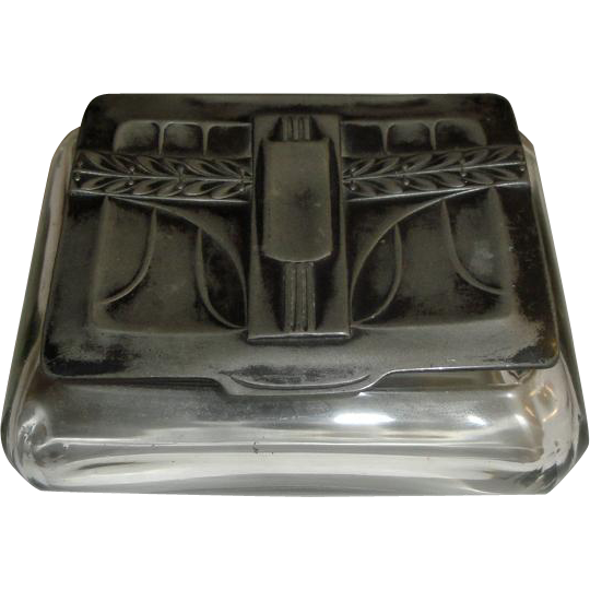 Decorative Metal Boxes With Lids : Vintage glass box decorative hinged metal lid from