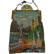 Gorgeous Vintage Beaded Purse with Victorian Fountain Scene & Jeweled Frame