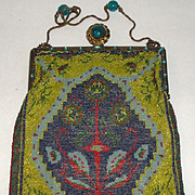 Vintage Bright Beaded Purse with Green Jeweled Frame & Clasp