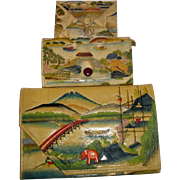 Vintage Asian Handpainted & Tooled Leather Clutch Purses & Wallet 3pcs