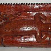 Vintage Leather Clutch Purse with Full Body Taxidermy Baby Alligator with Red Eyes
