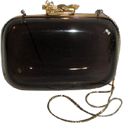 RARE Vintage Judith Leiber Smoke Colored Lucite Box Purse Handbag with Chain